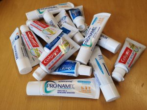 A bundle of toothpastes